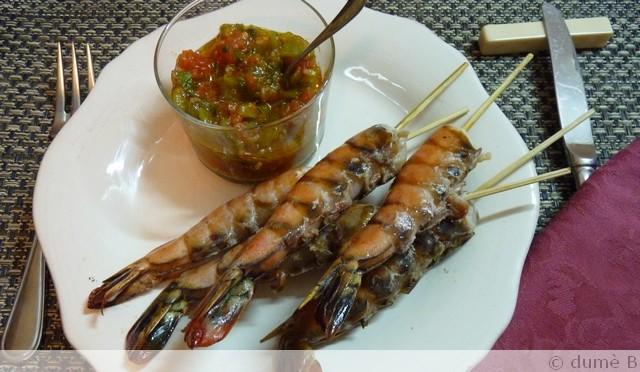 crevettes au gingembre avec leur sauce