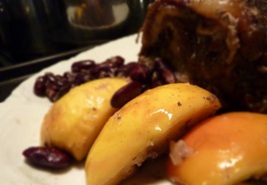 rôti de porc aux haricots rouges & pommes