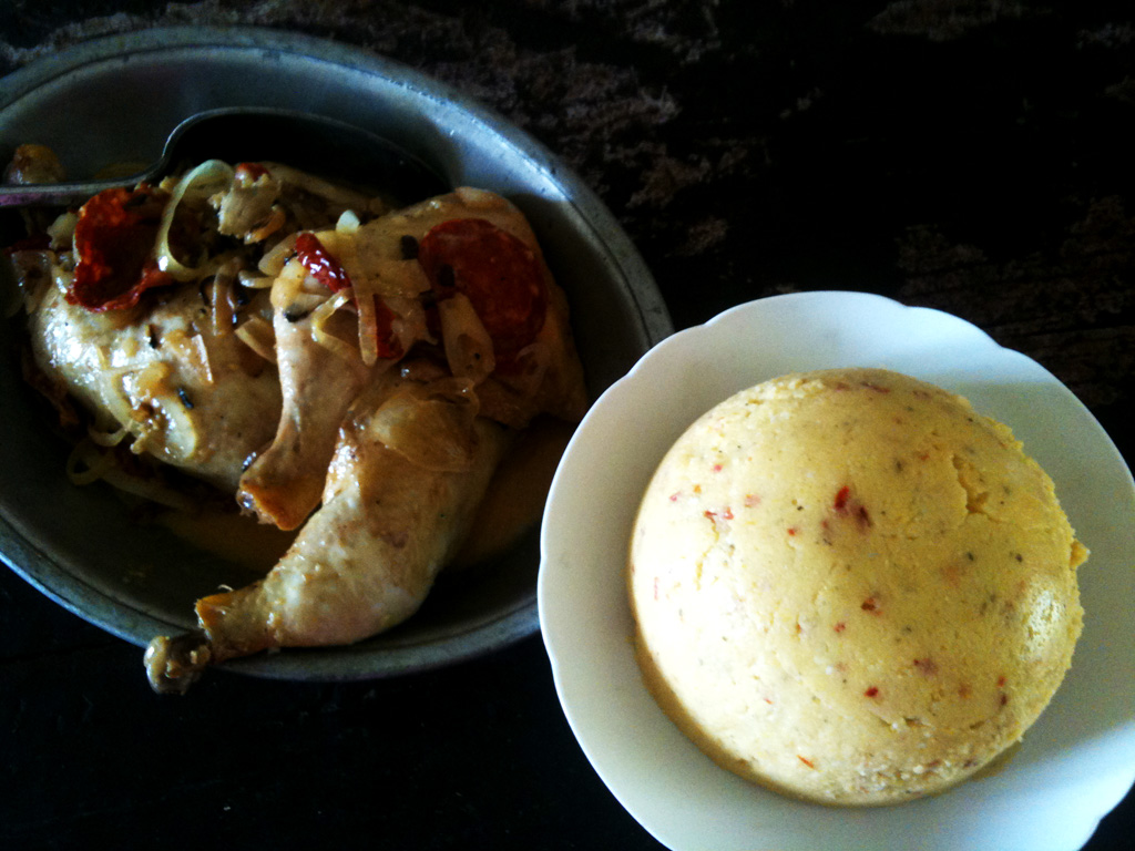 poulet-au-chorizo et à la polenta