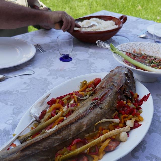 rouget grondin aux poivrons et au chorizo, rougail tomates